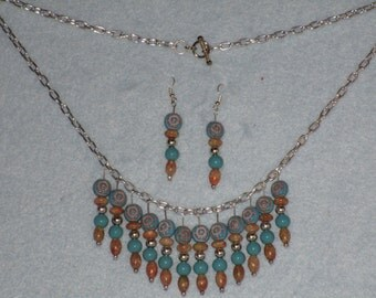 Turquoise and brown stone with silver colored beads necklace