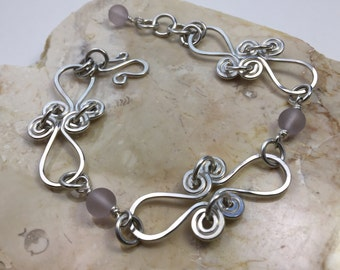 Sterling Silver Filled Wire Bracelet with Pink Tumbled Glass