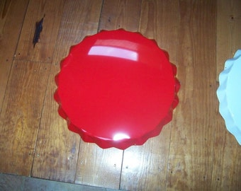 "Red Soda Bottle Cap Sign  22"" Across Made for Customizing"