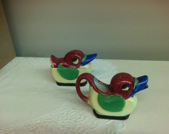 Vintage Bird Sugar & Creamer Set.