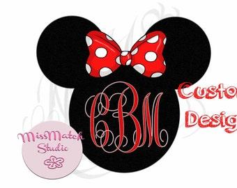 Monogram Custom ANY Name Mickey Mouse Head Disney Family Download Iron On Craft Digital Disney Cruise Line Magnet Shirts