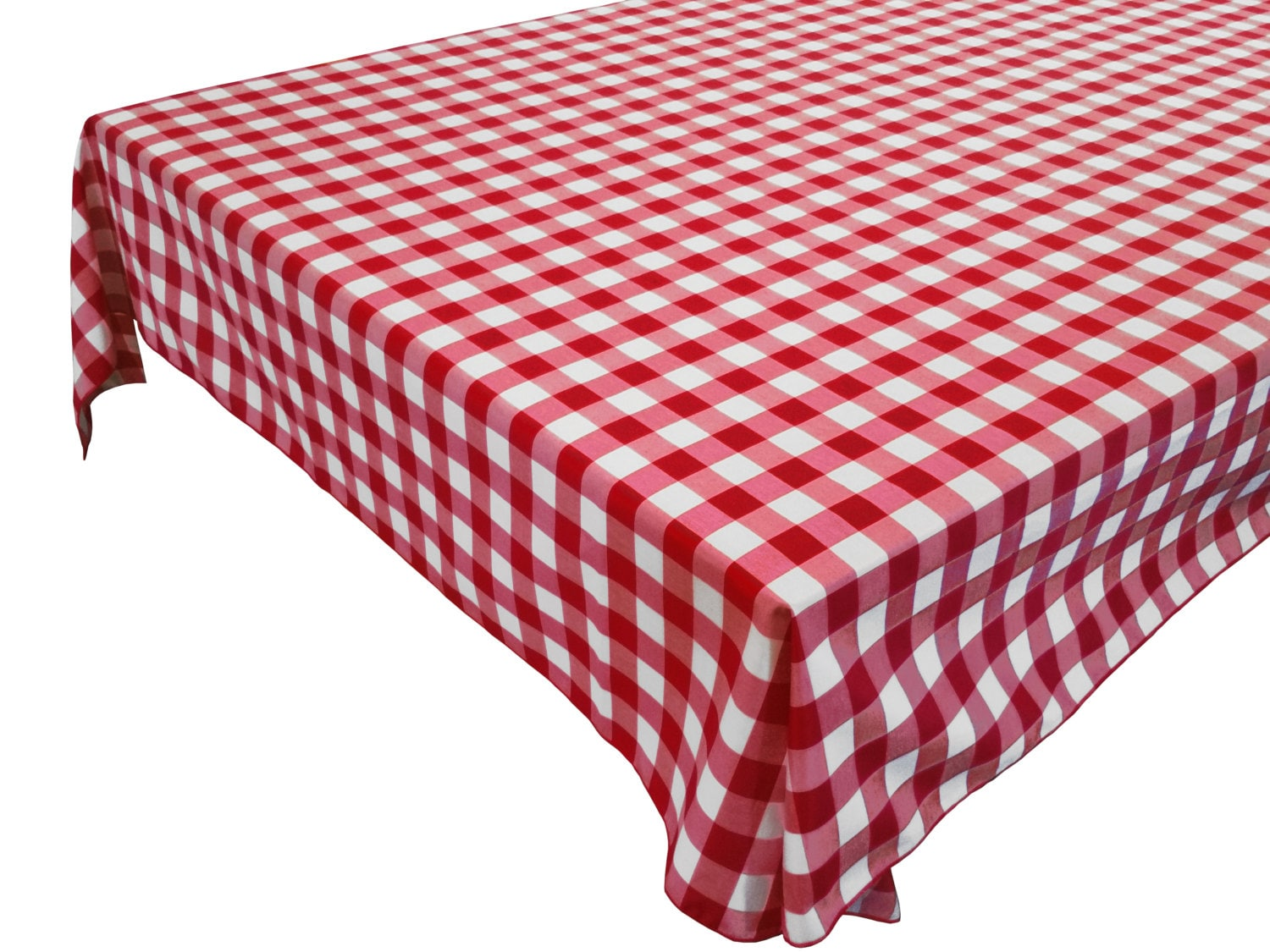 Cotton Table Cloth Woven Gingham Check Red
