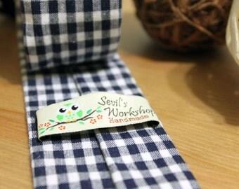 Navy Gingham Tie | Men's Navy & White Checkered | Handmade Cotton