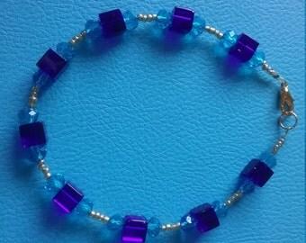Blue & Gold Swarvoski Bracelet