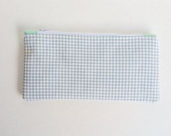 Summertime Blue Checkered & Mint Pencil Case Pouch Neutral Blue, Baby Blue Zipper Pouch, Back to School