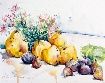 """Original Watercolour - Free shipping """"Quinces, flowers and figs"""" (kitchen flower quinces nature fruits fall received)"""