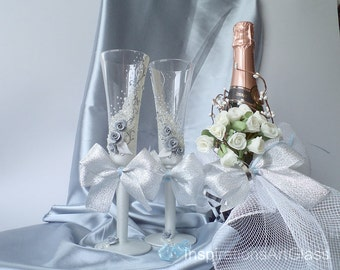Silver Champagne Flutes, Painted Wedding Glasses, Romantic Style, Wine Glasses with roses, Set of 2