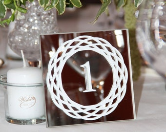 White decoration mirror table wedding table number