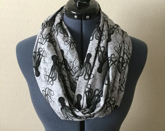 Octopus Infinity Scarf / Black and Gray / Scarf / Octopus / Damask / Nautical / Infinity Scarf / Tentacles / Cephalopod Mollusc / Marine Bio