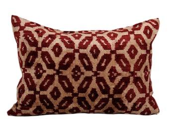 16x20 Uzbek hand-woven ikat pillow cover in silk velvet