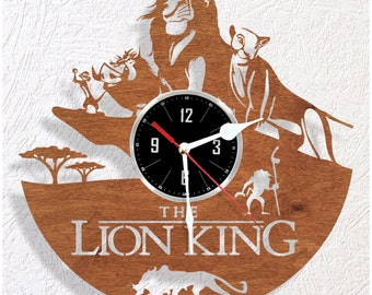 Wooden wall clock Lion King