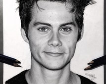 Dylan O'Brien Black and White Portrait Pencil Drawing Print