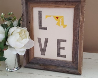Maryland Love - MD - LOVE - Maryland Sign - State with heart -Maryland  Home Decor
