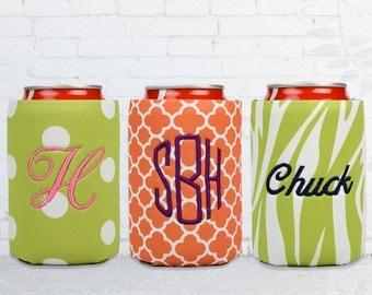 monogrammed Can Coolers in polka dots, quatrefoil, monogrammed drink holder