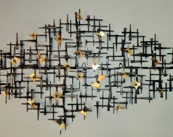 VEGAS LIGHTS  Breath taking Mid Century style handmade wall sculpture from  square nails and  torch cut brass plates with a clear coat.