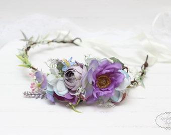 Lilac blue flower crown  Flower headband Bridesmaid flower crown Floral crown Boho floral crown Wedding flower crown Flower halo