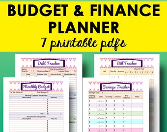 Budget and Finance Planner Printable, Bill Tracker, Debt Planning, Savings Tracker, Monthly Budget Planner Printable, Instant Download