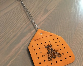 Amish made leather fly swatter // heavy duty // laser engraved