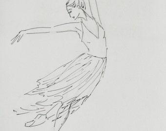 Ballet - original ink painting, 24x32 cm, dance, black&white, rain, ballet,  art, drawing, illustration
