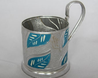 Vintage Soviet tea glass holder podstakannik theme of leaves