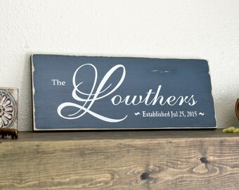 Distressed Painted Wood Plank Custom Family Name Sign Established Wood Wall Home Decor