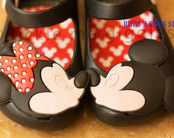 BLACK Kissing Mickey Minnie Mini Melissa remake shoes for toddlers and babies with FREE PERSONALIZATION!!