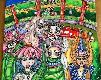 LOST Original Art Drawing Illustration Popart Popsurrealism Magic Clown Unicorn Flower Steampunk Bridge Garden Sunset Dawn Toadstool