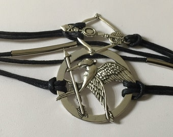 Mocking Jay Bracelet, Bow and Arrow Bracelet, Multi-Strand,Friendship Bracelet, Black/Silver/Bronze