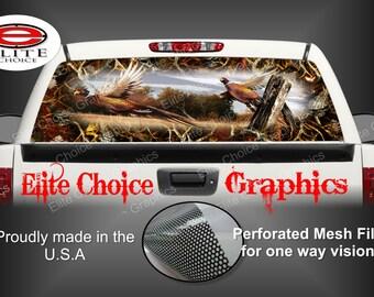 Ringneck Pheasant Obliteration Skull Blaze Camo Rear Window Graphic Tint Decal Sticker Truck SUV Van Car