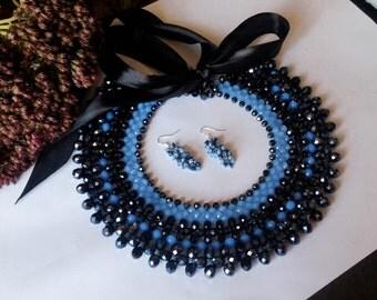 necklace, ручная работа, women, black, blue