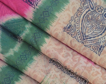 Pink Antique Vintage Sari Pure Cotton Saree Floral Printed Wrap Fabric Indian Craft Summer Wear Clothing Sarong 5Yard Free Shipping