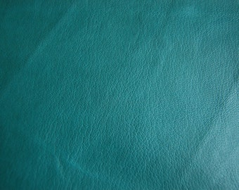 Green Leather Hide 82 cm x 72 cm Italian Soft Genuine Leather Hide 0.4 mm Thickness Soft Lamb Goat Sheep Hide Thin Leather Sea green