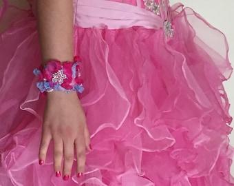 Hand Beaded Fabric Flower Cuff-Style Bracelet
