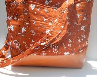 University of Texas Tote Bag, UT Bookbag, University of Texas Tote, UT Diaper Bag, Longhorns Book Bag, Texas Tote, texas longhorns carry all