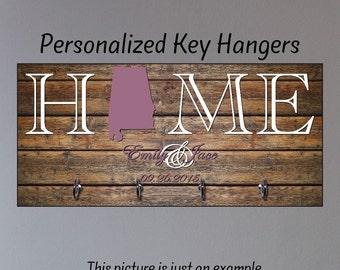 Personalized Housewarming Gift, New Home Gift, Key Holder, Key Rack, Key Hanger, Monogrammed Wedding Gift, Key Wall Organizer
