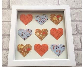 Framed origami wall art, origami hearts, framed wall art