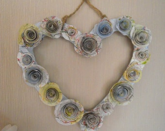 Recycled Paper Rose Heart