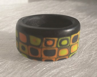 Ring geometric modern contemporary dark orange chartreuse charcoal artsy polymer clay