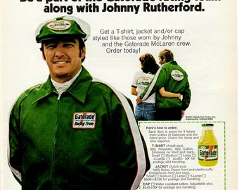 1970s Gatorade car racing with Johnny Rutherford vintage magazine ad 1703
