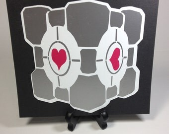 Portal Companion Cube Vinyl Decal, Companion Cube Wall Art Decal, Portal Wall Art, Companion Cube Sticker, Portal Video Game Decal