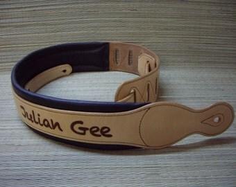 Guitar strap, padded, individual name / logo, personalized