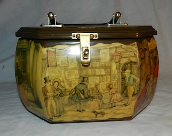 Vintage Anton Pieck Octagonal Decoupage Box purse  with Colonial street shopping scenes                                                30-21