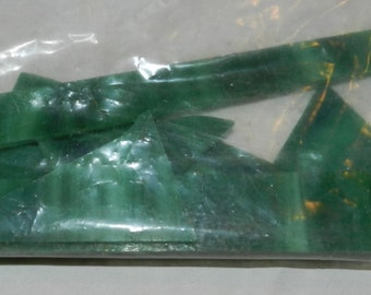 Green Slag Glass Stained Glass Scrap - About 4.5 Oz. of green slag glass for Stained Glass or Mosaic art or other kinds of art          14-7