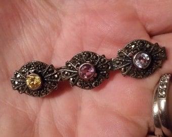 Vintage sterling marcasite brooch