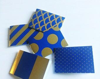Wallet notes: blue gold foil