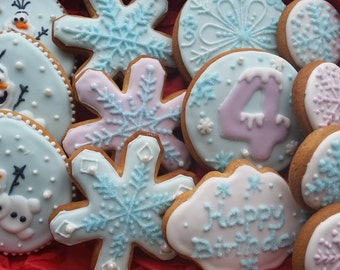 Frozen cookies,  biscuits, party favours,  party bag fillers,  snowman, snowflake,  winter cookies,  gift box,  stocking filler