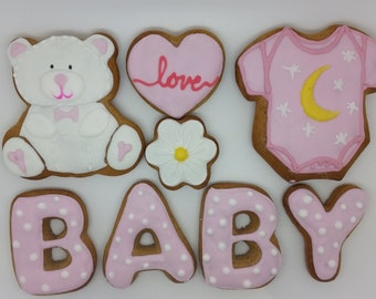 Baby shower cookies, christening cookies, christening gift, baby shower gift, baby, cookies, biscuits favours, new baby gift, baby girl gift