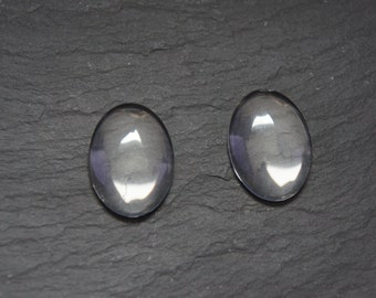 20 oval glass cabochons clear