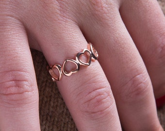 Open heart ring,all around heart ring,love ring,925 sterling silver.