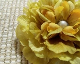 Mini Blooming Green Peony Flower Hair Accessory Headband Clip Brooch #021